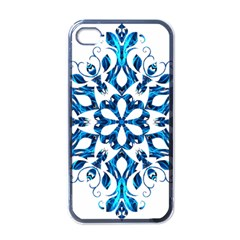 Blue Snowflake On Black Background Apple Iphone 4 Case (black)