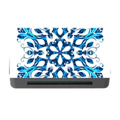 Blue Snowflake On Black Background Memory Card Reader with CF