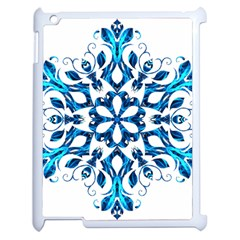 Blue Snowflake On Black Background Apple iPad 2 Case (White)