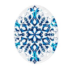 Blue Snowflake On Black Background Oval Filigree Ornament (Two Sides)