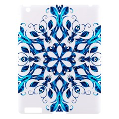 Blue Snowflake On Black Background Apple iPad 3/4 Hardshell Case