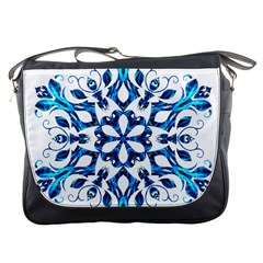 Blue Snowflake On Black Background Messenger Bags