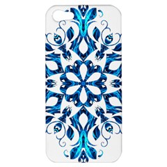 Blue Snowflake On Black Background Apple iPhone 5 Hardshell Case