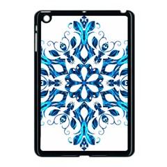 Blue Snowflake On Black Background Apple Ipad Mini Case (black)