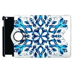Blue Snowflake On Black Background Apple Ipad 2 Flip 360 Case