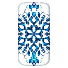 Blue Snowflake On Black Background Samsung Galaxy S3 S Iii Classic Hardshell Back Case