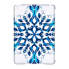 Blue Snowflake On Black Background Apple iPad Mini Hardshell Case (Compatible with Smart Cover)