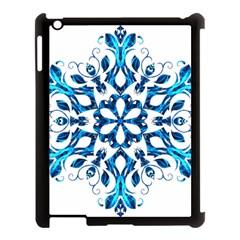 Blue Snowflake On Black Background Apple Ipad 3/4 Case (black)