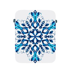 Blue Snowflake On Black Background Apple Ipad 2/3/4 Protective Soft Cases