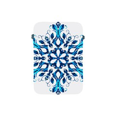 Blue Snowflake On Black Background Apple Ipad Mini Protective Soft Cases