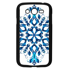 Blue Snowflake On Black Background Samsung Galaxy Grand Duos I9082 Case (black)