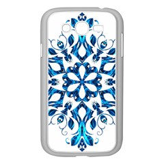 Blue Snowflake On Black Background Samsung Galaxy Grand Duos I9082 Case (white)