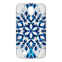 Blue Snowflake On Black Background Samsung Galaxy Mega 6.3  I9200 Hardshell Case