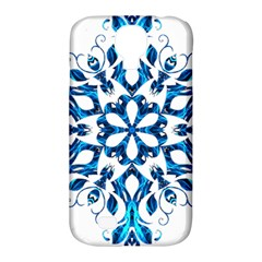 Blue Snowflake On Black Background Samsung Galaxy S4 Classic Hardshell Case (pc+silicone)