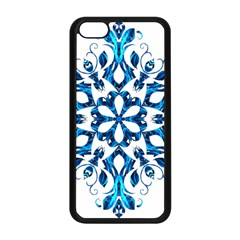 Blue Snowflake On Black Background Apple iPhone 5C Seamless Case (Black)