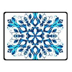 Blue Snowflake On Black Background Double Sided Fleece Blanket (Small)