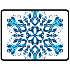 Blue Snowflake On Black Background Double Sided Fleece Blanket (large)