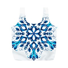 Blue Snowflake On Black Background Full Print Recycle Bags (M)
