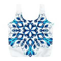 Blue Snowflake On Black Background Full Print Recycle Bags (l)