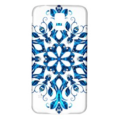 Blue Snowflake On Black Background Samsung Galaxy S5 Back Case (White)