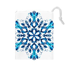 Blue Snowflake On Black Background Drawstring Pouches (large)