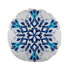 Blue Snowflake On Black Background Standard 15  Premium Flano Round Cushions