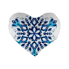 Blue Snowflake On Black Background Standard 16  Premium Flano Heart Shape Cushions