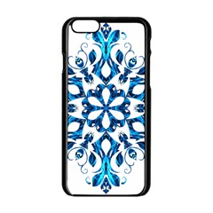 Blue Snowflake On Black Background Apple iPhone 6/6S Black Enamel Case