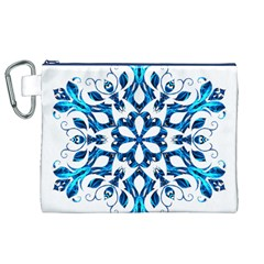 Blue Snowflake On Black Background Canvas Cosmetic Bag (XL)