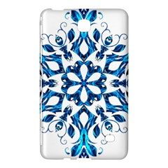 Blue Snowflake On Black Background Samsung Galaxy Tab 4 (7 ) Hardshell Case