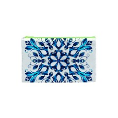 Blue Snowflake On Black Background Cosmetic Bag (XS)
