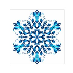 Blue Snowflake On Black Background Small Satin Scarf (square)