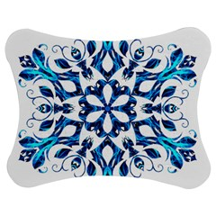 Blue Snowflake On Black Background Jigsaw Puzzle Photo Stand (Bow)