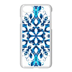 Blue Snowflake On Black Background Apple iPhone 7 Seamless Case (White)