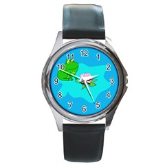 Frog Flower Lilypad Lily Pad Water Round Metal Watch