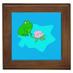 Frog Flower Lilypad Lily Pad Water Framed Tiles