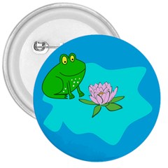 Frog Flower Lilypad Lily Pad Water 3  Buttons