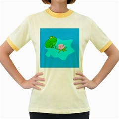 Frog Flower Lilypad Lily Pad Water Women s Fitted Ringer T-Shirts