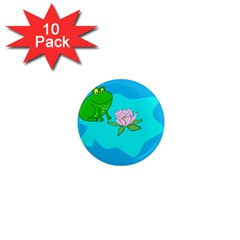 Frog Flower Lilypad Lily Pad Water 1  Mini Magnet (10 pack)