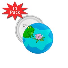 Frog Flower Lilypad Lily Pad Water 1 75  Buttons (10 Pack)