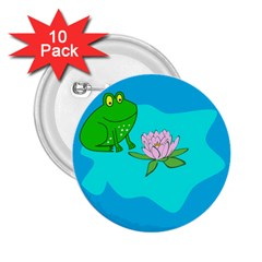 Frog Flower Lilypad Lily Pad Water 2 25  Buttons (10 Pack)