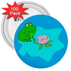 Frog Flower Lilypad Lily Pad Water 3  Buttons (100 Pack)