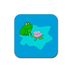 Frog Flower Lilypad Lily Pad Water Rubber Square Coaster (4 Pack)