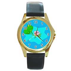 Frog Flower Lilypad Lily Pad Water Round Gold Metal Watch
