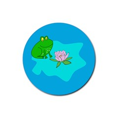 Frog Flower Lilypad Lily Pad Water Rubber Coaster (Round)