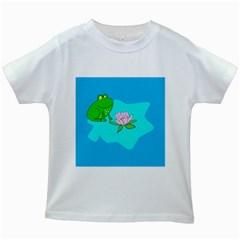 Frog Flower Lilypad Lily Pad Water Kids White T Shirts