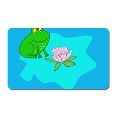 Frog Flower Lilypad Lily Pad Water Magnet (Rectangular)