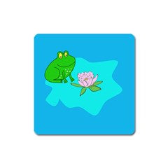 Frog Flower Lilypad Lily Pad Water Square Magnet