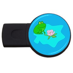 Frog Flower Lilypad Lily Pad Water USB Flash Drive Round (2 GB)