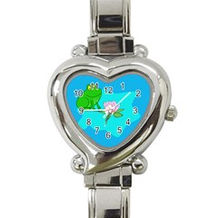 Frog Flower Lilypad Lily Pad Water Heart Italian Charm Watch